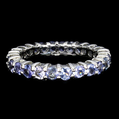 £0.72 • Buy Unheated Round Tanzanite 3mm 14K White Gold Plate 925 Sterling Silver Ring Sz 8