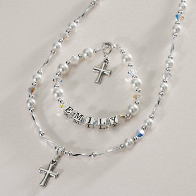 Silver Jewellery Set, Gift For Girls First Holy Communion, Christening, Baptism. • 41.99£