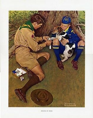 $ CDN33.32 • Buy Norman Rockwell BSA Boy Scout Print FRIEND IN NEED 1949