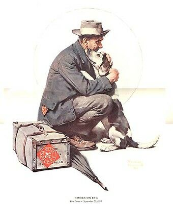 $ CDN19.99 • Buy Norman Rockwell Traveler And His Dog Print HOMECOMING
