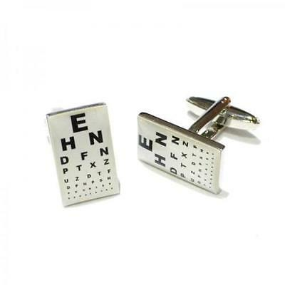 Opticians Eye Chart Text Rhodium Plated Cufflinks In A Cufflink Box X2BOCR031 • 9.99£