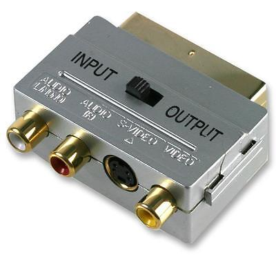 £3.85 • Buy Scart Adaptor 3x RCA Phono Bi Directional  In/Out Switch Gold