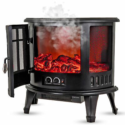 Electric Fireplace Log Burning Flame Effect Stove Fire Heater Thermal Wood 1800W • 139.99£