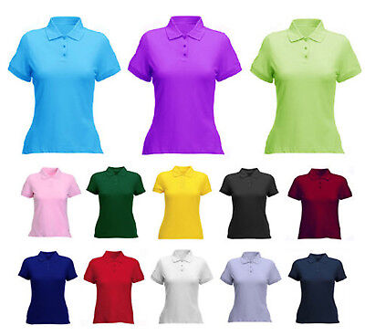 Ladies & Girls Pique Polo T Shirt Size 8 To 22 - LEISURE SPORT WORK CASUAL • 7.99£