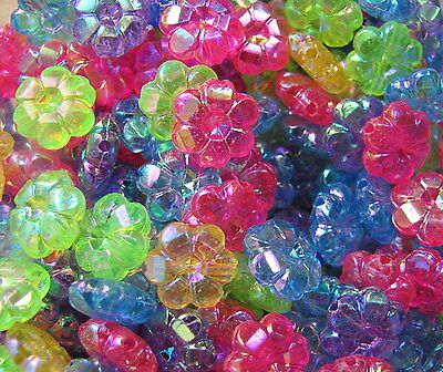 £0.99 • Buy 50 Flower Daisy 10mm Faceted AB Iridescent Plastic Beads Cute Fun Choose Colour