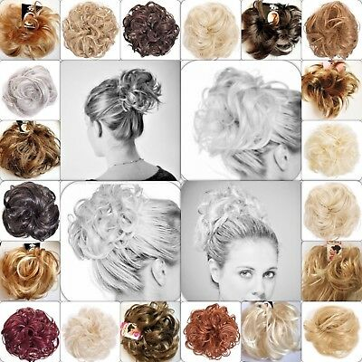 £4.10 • Buy Hair Scrunchie Wrap Hairpiece Messy Bun Updo Extension Wavy Curly Spiky Natural