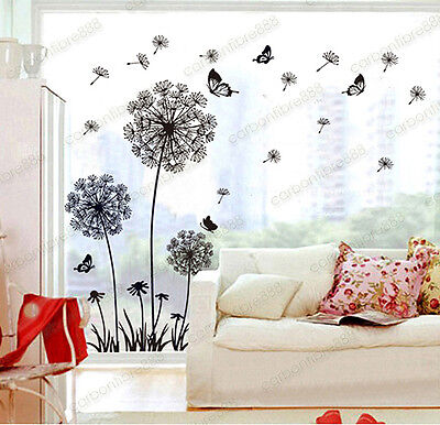 Dandelion Flowers Wall Stickers Transparent Wallpaper Decor Art Decal Home DIY • 7.99£
