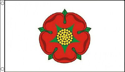 3' X 2' Old Lancashire Flag Traditional Red Rose On White Flag English County  • 4.99£