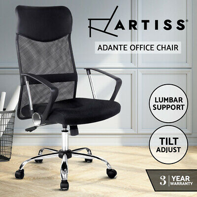 AU99.95 • Buy Artiss Office Chair Computer PU Leather Mesh Chairs Executive High Back Black