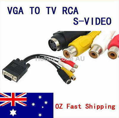 AU8.67 • Buy PC VGA To S-Video AV 3RCA TV Out Converter Adapter Cable