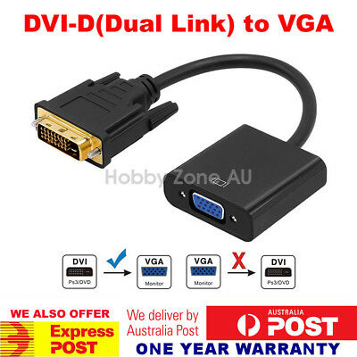 AU10.68 • Buy 24+1 DVI-D Dual Link DVI Male To VGA Female 15 Pin Adapter Cable Converter 1080P