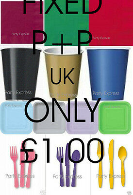 Party Tableware - Plates,Cups,Napkins,Table Covers 21 Colours ..UK P+P £1 FIXED • 1.68£