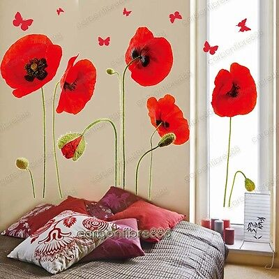 Red Poppy Flowers Butterflies Wall Stickers Art Decal Wallpaper Mural Home Decor • 6.44£