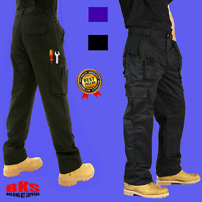 Mens Combat Cargo Work Trousers Size 30 To 54 With KNEE PAD POCKETS – By BKS • 14.97£