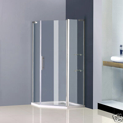 Aica 900x900mm Frameless Pivot Shower Enclosure And Tray Door Pentagon Cubicle • 183.99£