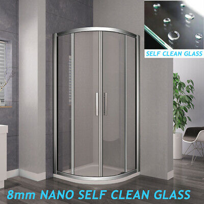 Offset Quadrant Shower Enclosure &Tray NANO / Tempered Glass Door Screen Cubicle • 187.99£