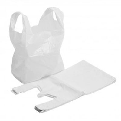 Vest Carrier Bags LARGE White 11'' X 17'' X 21''  T-Shirt  X 100 Strong Plastic • 3.95£
