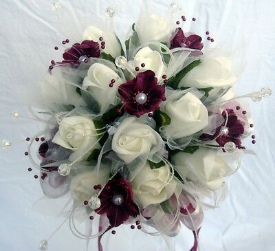 £18.99 • Buy Bridesmaids Posy Bouquet, Ivory Roses, Burgundy Flower With Pearls And Crystals