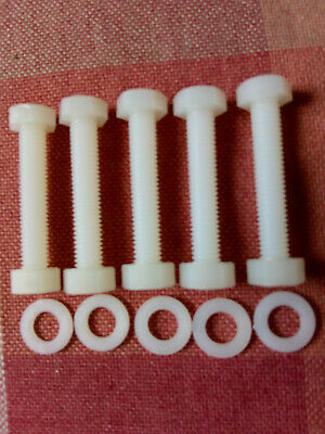 5mm X 30mm Long Nylon Plastic Hexagon Bolts + M5 Nuts And Washers New Pack X 5 • 2.75£