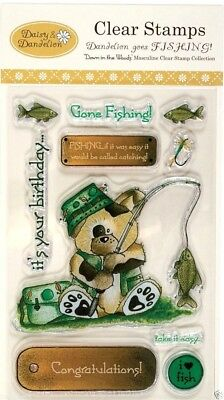 Clear Rubber Stamp Set Down In The Woods For Men Daisy & Dandelion Goes Fishing • 2.99£