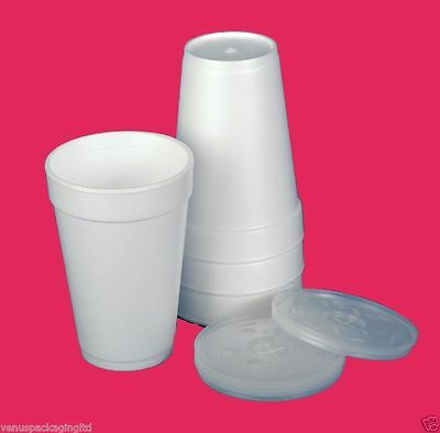 Polystyrene 10oz  Insulated Foam Tea Coffee Dart Cups WITH LIDS X 200 • 24.95£