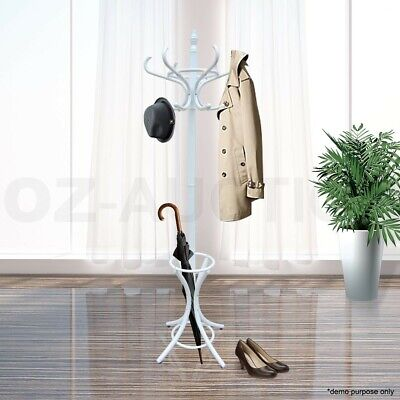AU69.95 • Buy Tree Style 12 Hooks Coat Clothes Rack Wooden Umbrella Hanger Stand Base Ring WH