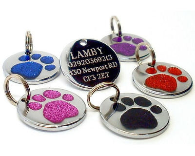 ENGRAVED Dog Pet ID Tags Glitter Paw Identity Name Disc Personalised Engraving  • 2.75£