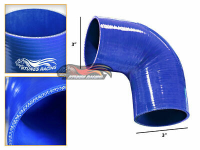 """BLUE Elbow 3.5/"""" 89mm 4-ply Silicone Coupler Hose Turbo Intake Intercooler Chev2"""