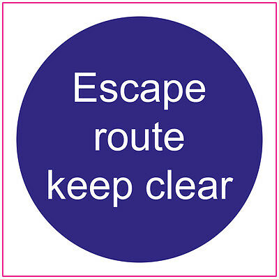 FIRE DOOR 100mm | ESCAPE ROUTE KEEP CLEAR | Sign/Stickers | Safety • 2.24£