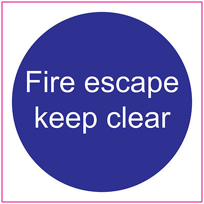 FIRE DOOR, FIRE ESCAPE KEEP CLEAR, Sign/Stickers, Safety, Warning, First Aid • 2.24£