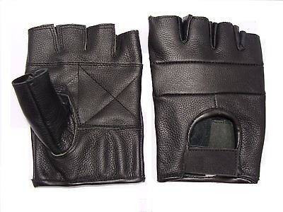 £3.98 • Buy Leather Fingerless Gloves Motorcycle Motorbike Driving Cycling Gym And Goth