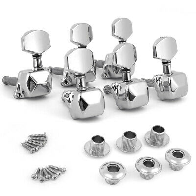 $12.59 • Buy Acoustic Guitar String Tuning Pegs Machine Heads Tuners 3x3 Chrome Semiclosed
