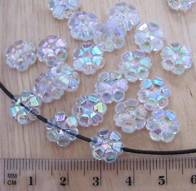 £0.99 • Buy 50 Clear Transparent Flower Daisy 10mm Faceted AB Iridescent Plastic Beads Flat