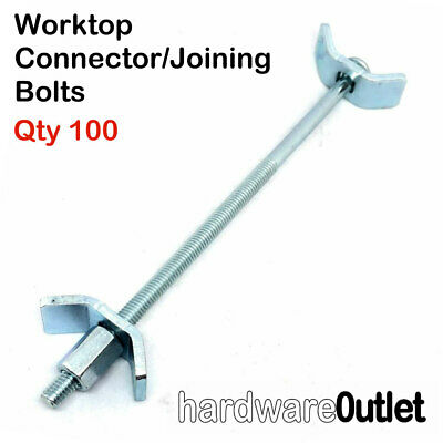 100 X 6  WORKTOP CONNECTOR BOLTS 150mm BZP Easibolt, Joining Clamp Trade Pack • 44.95£