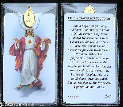 Prayer Verse Card Various Saints Icons With Medal In Plastic Wallet - Catholic  • 1.85£