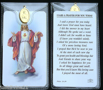 £1.85 • Buy  Prayer Verse Card Various Saints Icons With Medal In Plastic Wallet - Catholic