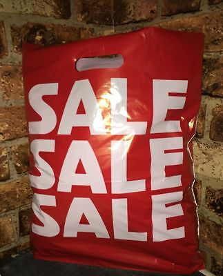 100 X  Large Red Print Strong Plastic Sale Carrier Bags Retail Shop Display  • 21.90£