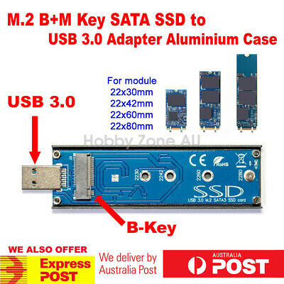 AU32.85 • Buy M.2(NGFF) B+M KEY SATA SSD To USB 3.0 Converter Adapter External Aluminium Case