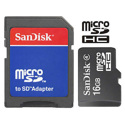SanDisk 16GB MicroSD Micro SDHC TF Flash Class 4 Memory Card 16G With SD Adapter • 5.50$
