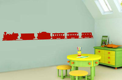 TRAIN OF 5 CARRIAGES CHILDREN Wall  Sticker DECOR Girls Boys Decal • 11.99£