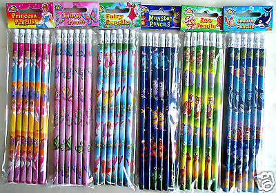 £1.89 • Buy Childrens Character Pencils & Eraser Kids  Party Bag Fillers School Stationery