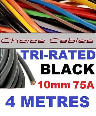 AU14.79 • Buy TRI RATED CABLE 10mm 75A 4 METRES BLACK CAR BOAT LOOM WIRE BS6231 PANEL WIRE 4m