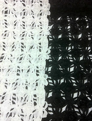 DESIGNER LACE FABRIC Latest Ribboned Latice Material, 100% Polyester, 130cm Wide • 15£
