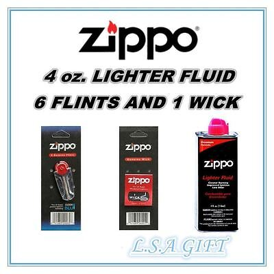 $2.99 • Buy Zippo Lighters 4oz Fuel Fluid And 1 Flint & 1 Wick Value Pack Combo