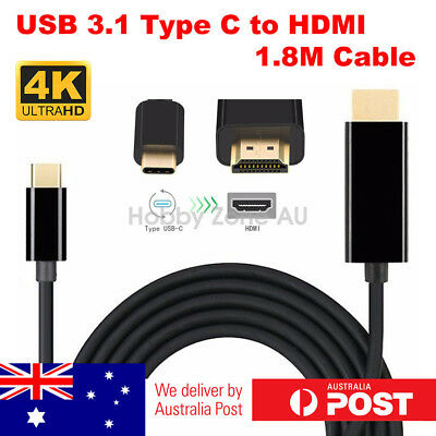 AU12.85 • Buy USB C To HDMI Cable USB 3.1 Type C Male To HDMI 4K UHD 1.8m Cable Thunderbolt 3