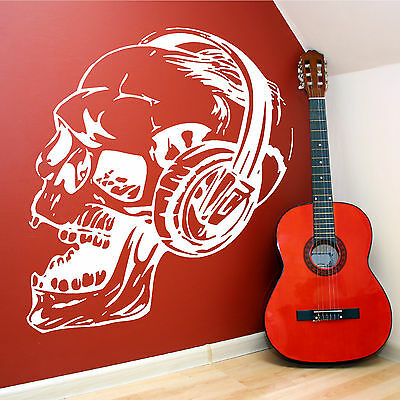 SKULL WITH HEADPHONES WALL ART  Music Wall Art Vinyl Sticker Room Decal  • 9.99£