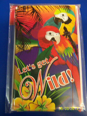 Tropical Birds Summer Luau Beach Theme Birthday Party Invitations W/Envelopes • 2.12£