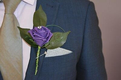 £3.95 • Buy Artificial CADBURY PURPLE Silk Foam Rose, Diamante, Wedding Buttonhole Flower