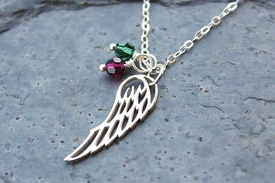 My Angels Necklace - Sterling Silver Angel Wing Charm, Two Birthstone Crystals  • 39.07£