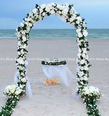 $34.99 • Buy 7.5 FT WHITE METAL ARCH For Wedding Party Bridal Prom Garden Floral Decoration